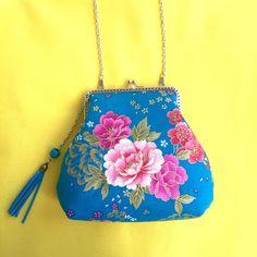 日本和风印花朵单肩斜挎手拿链条女包口金布包蓝色牡丹花鸟零钱包