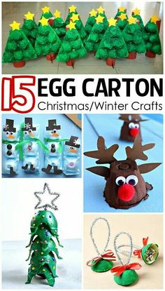 How to make these 15 egg carton Christmas and winter crafts for your kids to make in their spare time. Christmas/Winter Egg Carton Crafts for Kids - Crafty Morning Christmas Crafts For Kids, Christmas Projects, Holiday Crafts, Christmas Decorations, Holiday Fun, Christmas Ornaments, Christmas Christmas, Toddler Crafts, Preschool Crafts