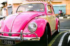 vintage pink vw beetle - Google Search