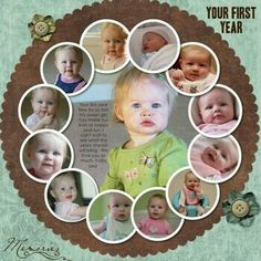 12 pictures for a first year. Scrapbook idea