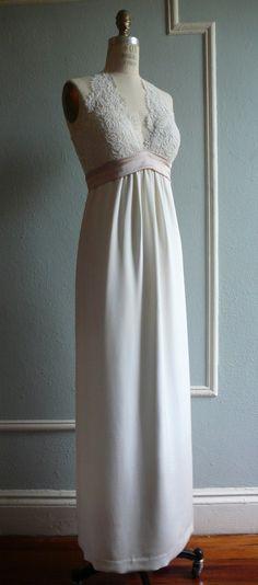 French Lace Halter Wedding Gown, Empire waist column skirt, Contrast sash, Silk, Customizable. $1,958.00, via Etsy.