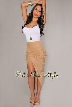 Nude Faux Suede Ruched Assymetrical Draped Skirt