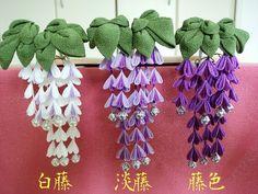 (送料込み)藤の花のつまみ細工かんざし