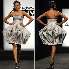 Project runway rarely takes risks designing new or creative things anymore, but with a recycle competition I have coming up, finding this sure helped with inspiration. Runway Fashion, Trendy Fashion, Fashion Show, Fashion Outfits, Fashion Design, Modest Dresses, Cheap Dresses, Strapless Dress Formal, Paper Dress Art