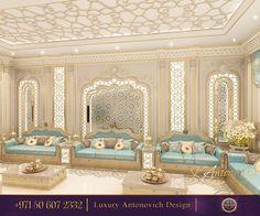 Bespoke Majlis Interior Design in Dubai by Luxury Antonovich Design Luxury Interior Design, Interior Exterior, Interior Design Services, Moroccan Design, Moroccan Decor, Arabian Decor, Bungalow House Design, Moroccan Interiors, Design Your Home