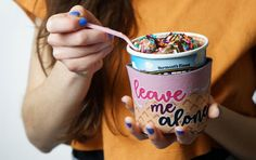 2-Pack Leave my Alone Go Away Ice Cream Pint Cozies Two Color Versions His and Hers Ice Cream Pint Sleeves Newly Wed Gift