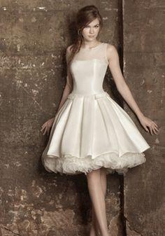 Knee Length Jewel A line Mikado With Buttons Stylish Wedding Dress - 1300103987B - US$199.99 - BellasDress