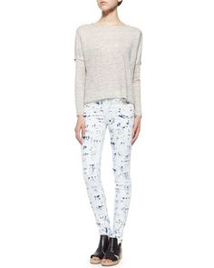 The Deal Linen Long-Sleeve Tee & The Skinny Brushstroke-Print Jeans by rag & bone/JEAN at Bergdorf Goodman.