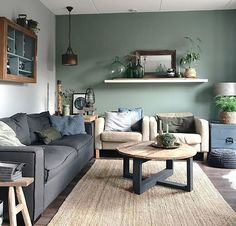 Have a good one! Living Room Green, New Living Room, Home And Living, Living Room Decor, Vintage Industrial Decor, Interior Stairs, Piece A Vivre, Apartment Living, Home Accents