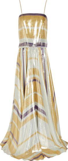 LANVIN PARIS   Striped Silk-blend Lamé Gown