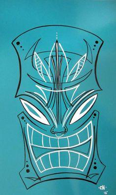 Pinstriped Tiki mask by HernandezDesigns Tiki Head, Pinstripe Art, Pinstriping Designs, Tiki Mask, Pinup, Tiki Room, Oldschool, Garage Art, Lowbrow Art