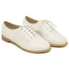British Style Retro White Flats for big sale!