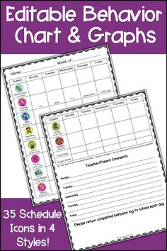 This weekly behavior chart includes monthly graphs for data collection for Special Education and RTI – Response To Intervention. Teachers can use the editable template to motivate students and help them learn to monitor their own behavior. This behavior chart provides a school and home connection and is a form of daily communication for parents. Use your own clip art or the Schedule Icons to personalize for your own schedule. Use in the preschool, elementary, or upper elementary classroom.