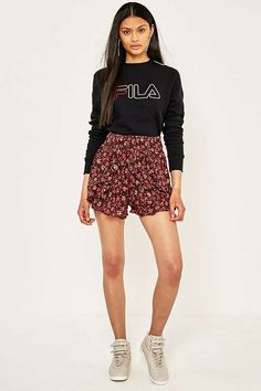 Slide View: 1: Ecote Red Floral Smocked Ruffle Beach Shorts