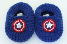 Captain America Inspired Teddy Bear Slippers by PattisProjects on Etsy