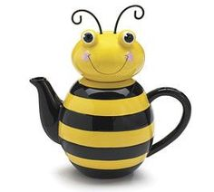 "Handwash only/FDA approved. Honey Bee teapot Bee shape ceramic teapot 9 3/4""H x 9 1/2""W x 1 3/4"" opening, holds 48 oz. Gift boxed."