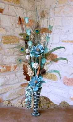 Arrangement with Unusual Materials | New Large Peacock Feather Floral Arrangement with Blue ...