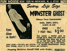 25% Off first ever sale! Today only!!!!!!!! Vintage Scary Life Size MONSTER GHOST Over 7 Feet Tall and Obeys Your Commands