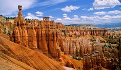 Hoodoos in Bryce Canyon and Zion National Parks. These weirdly shaped rock spires that look somewhat like totem poles, are carved by water in arid environments. They can be found in Bryce Canyon and Zion in Utah Zion Park, Zion Utah, Bryce Canyon, Grand Canyon, National Park Tours, National Parks, Places To Travel, Places To Go, Visit Utah