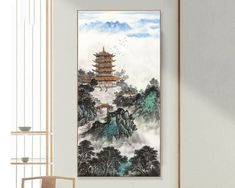 Yellow Crane Tower ink brushwork art print, ink wash Chinese landscape painting, clouds and misty mountains, unframed peaceful scenes art Chinese Landscape Painting, Landscape Paintings, Ink Wash, Crane, Tower, Wall Decor, Clouds, Art Prints, Studio