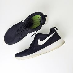Used - Nike Roshe Black on white Nike Roshe Runners, purchased about a year ago. Great shoe, worn as shown in photos. Shoe runs true to size. This item is apart of the *holiday special* buy one get one %50 off if you bundle. Nike Shoes Sneakers