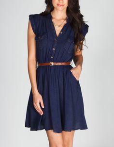 ANGIE Mineral Wash Belted Shirt Dress 222026200   Short Dresses   Tillys.com