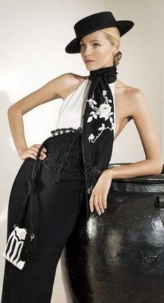 Ralph Lauren - love the scarf. Gaucho, Ralph Lauren, Valentina Zelyaeva, Bregje Heinen, Black White Fashion, Russian Models, Fashion Details, Preston, Camilla