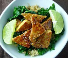Sweet Chili Tofu with Quiona & Kale  Great vegan recipes