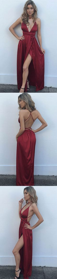 sexy prom dresses, wine prom dresses, burgundy long prom dresses, cut low prom dresses, deep v neck prom dresses, 2k17 prom dresses