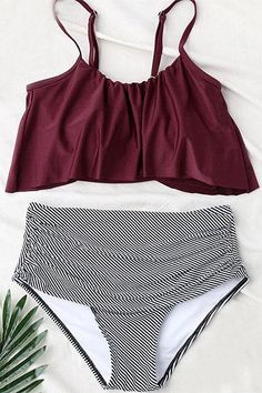 Sheinlove Seaside Gale Falbala High waisted Swimsuit