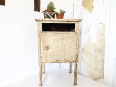 French mid century metal side table night stand chevet side