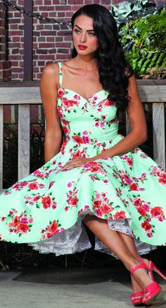Stop Staring! Marisol Swing Dress in Mint Floral | Blame Betty