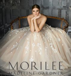 morilee fall 2017 bridal strapless sweetheart neckline heavily embellished bodice blush color romantic a line wedding dress chapel train mv -- Morilee by Madeline Gardner Fall 2017 Wedding Dresses Wedding Dresses 2018, Affordable Wedding Dresses, Wedding Dress Styles, Designer Wedding Dresses, Bridal Dresses, 2017 Wedding, Wedding Colors, Bella Wedding, Luxury Wedding