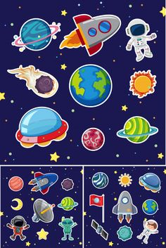 Space icons with rockets and planets Premium Vector - -You can find Planets and more on our website.Space icons with rockets and planets Premium Vector - - Space Party, Space Theme, Printable Stickers, Cute Stickers, Diy And Crafts, Crafts For Kids, Sistema Solar, Space Crafts, Birthday Party Themes
