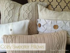 Before you send those old sweaters to Goodwill, you might want to check out this tutorial on how to make cozy sweater pillows.