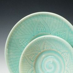 Trinket Dishes in Aqua -set of 2 \/ Handmade Wheel Thrown Pottery