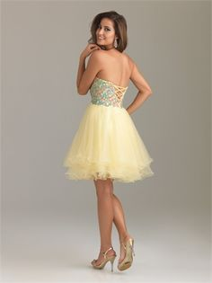 Strapless Sweetheart Empire with Beadings Short Tulle Homecoming Dress HD1081  http://www.homecomingstore.com