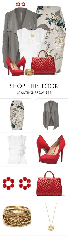 """""""Grey and Red w/ Floral Skirt"""" by angelysty ❤ liked on Polyvore featuring River Island, Rick Owens, Paco Rabanne, Jessica Simpson, Les Néréides, Gucci, Wet Seal and Pamela Love"""