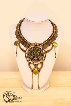 "Macrame necklace ""Inca Gold"". Handmade by Anastasia Akhmetzyanova."