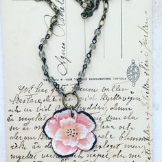 """Tin Jewelry Necklace """"Cabbage Rose"""" Tin for the Ten Year Tenth Wedding Anniversary"""