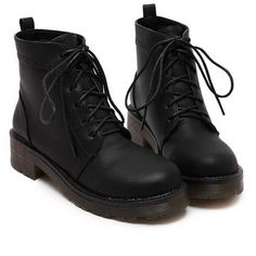 Black Round Toe Vintage Lace Up Boots