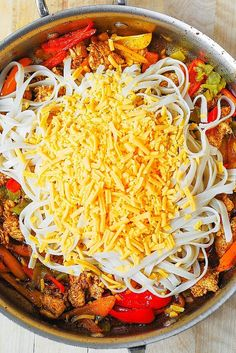 In this Mexican Chicken Pasta, sliced chicken breast is cooked in Mexican spices, with bell peppers and green chiles, and then smothered in a creamy sauce made with Cheddar and Mozzarella cheeses and spices! Mexican Chicken Pasta Recipe, Mexican Pasta, Mexican Food Recipes, Chicken Recipes, Dinner Recipes, Fried Cod Recipes, Pasta Dinners, Skillet Dinners, Meals