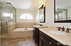 Traditional Master Bathroom with Handheld showerhead, frameless showerdoor, slate tile floors, Master bathroom, Raised panel