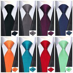 Hot! Classic Solid Plain 100% Silk Necktie Jacquard Woven Tie Men's Neck Tie Set