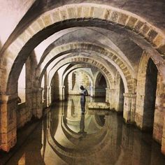 Flooded crypt in Winchester Cathedral, England.