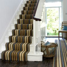 The Best Ways To Install Stair Carpet Rods: Stair Runner Carpet Stair Carpet Rods, Grey Stair Carpet, Stairway Carpet, Carpet Stairs, Hallway Carpet Runners, Stair Runners, Rug Runners, Wool Runners, Engineered Timber Flooring