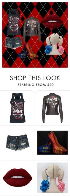 """Harley Quinn"" by zealandtimelord on Polyvore featuring Alice + Olivia, rag & bone/JEAN and Lime Crime"