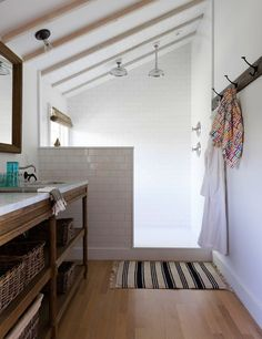 I love playing with slanted roofs and nooks for bathroom in a way that actually adds to the design element as they do here with the slanted roof shower stall.  Steal This Look: Ben Watts Bathroom | Remodelista