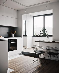 So modern minimalist home design idea Minimalist Home Decor, Minimalist Kitchen, Minimalist Design, Minimalist Style, Kitchen Modern, Nice Kitchen, Kitchen Layout, Kitchen Decor, Vintage Interior Design
