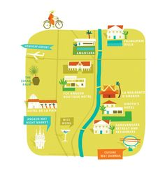 Siem Reap, Cambodia Map ©Tania Willis Travel Maps, Asia Travel, Cambodia Map, Travel Illustration, Siem Reap, Information Graphics, Map Design, Angkor Wat, City Maps